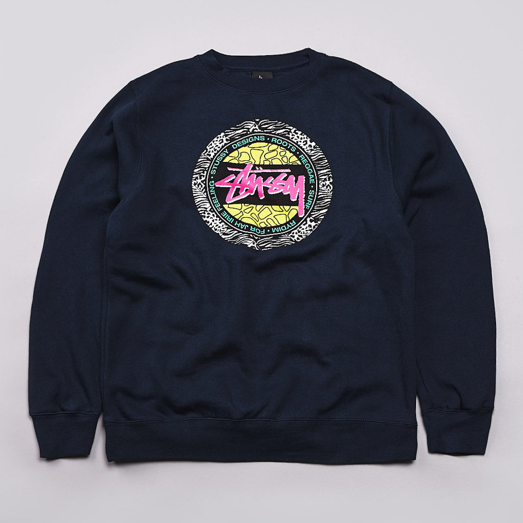 Stussy Safari Dot Crew Neck Sweatshirt Navy