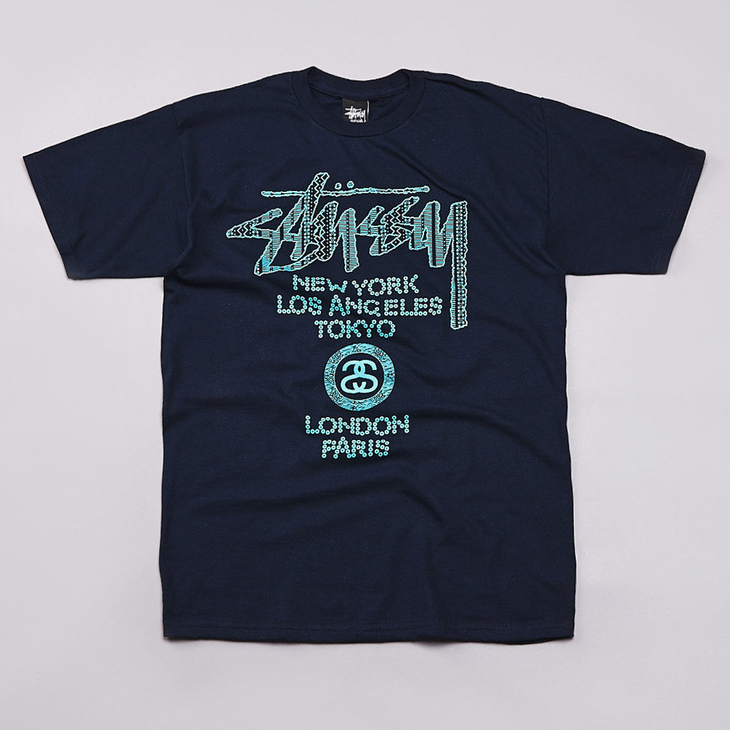 Stussy Safari WT T Shirt Navy