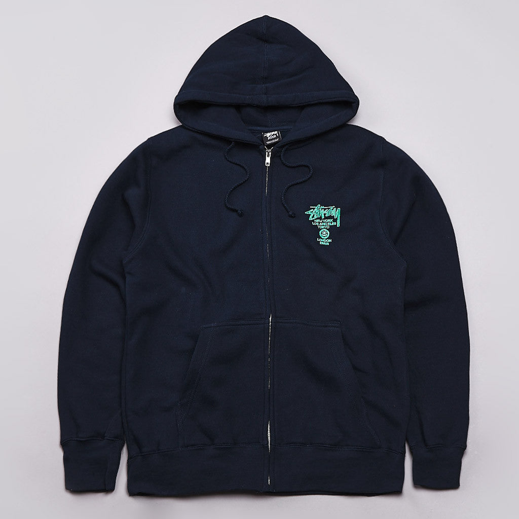 Stussy Safari Zipped Hooded Sweatshirt Navy