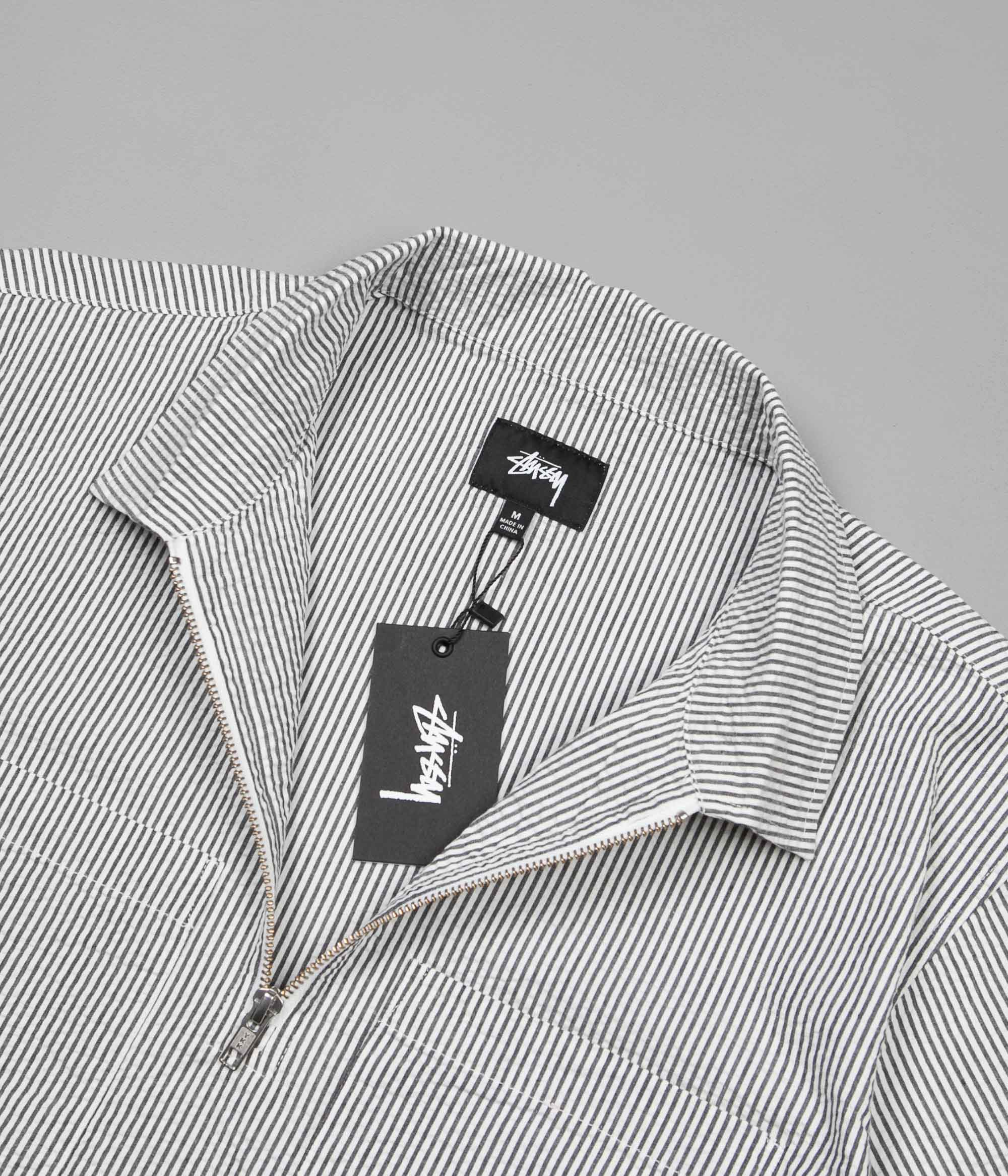 Stussy Seersucker Half-Zip Shirt - Black Stripe