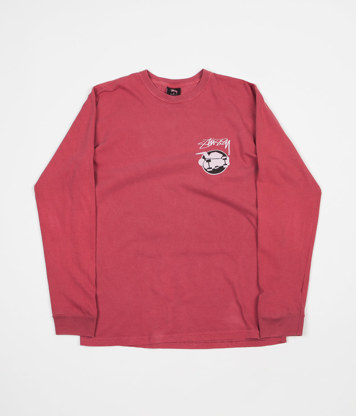 Stussy Skateman Pigment Dyed Long Sleeve T-Shirt - Raspberry