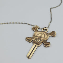 Stussy Skull Blank Key Necklace Brass