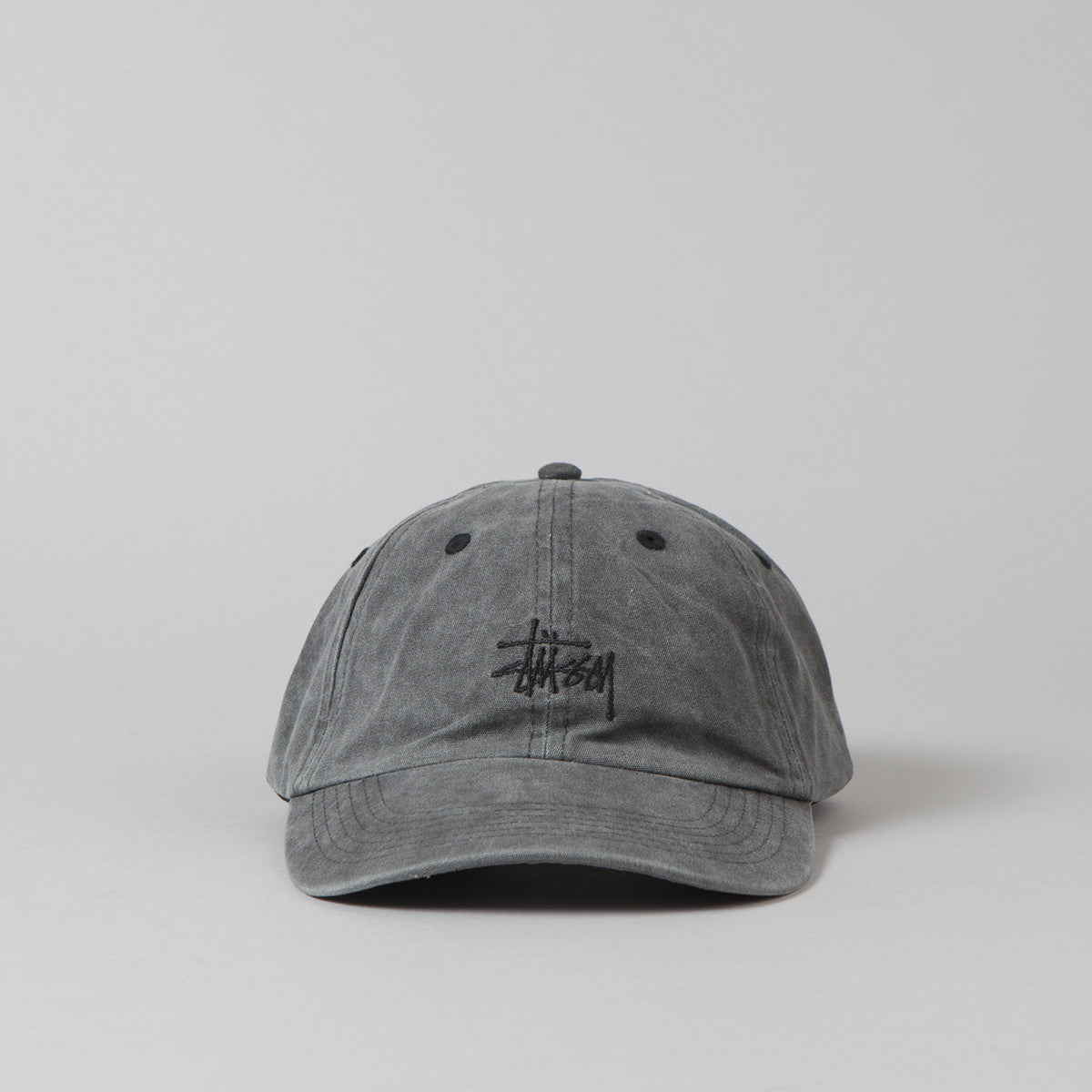 Stussy Smooth Stock Enzyme Wash Cap - Black