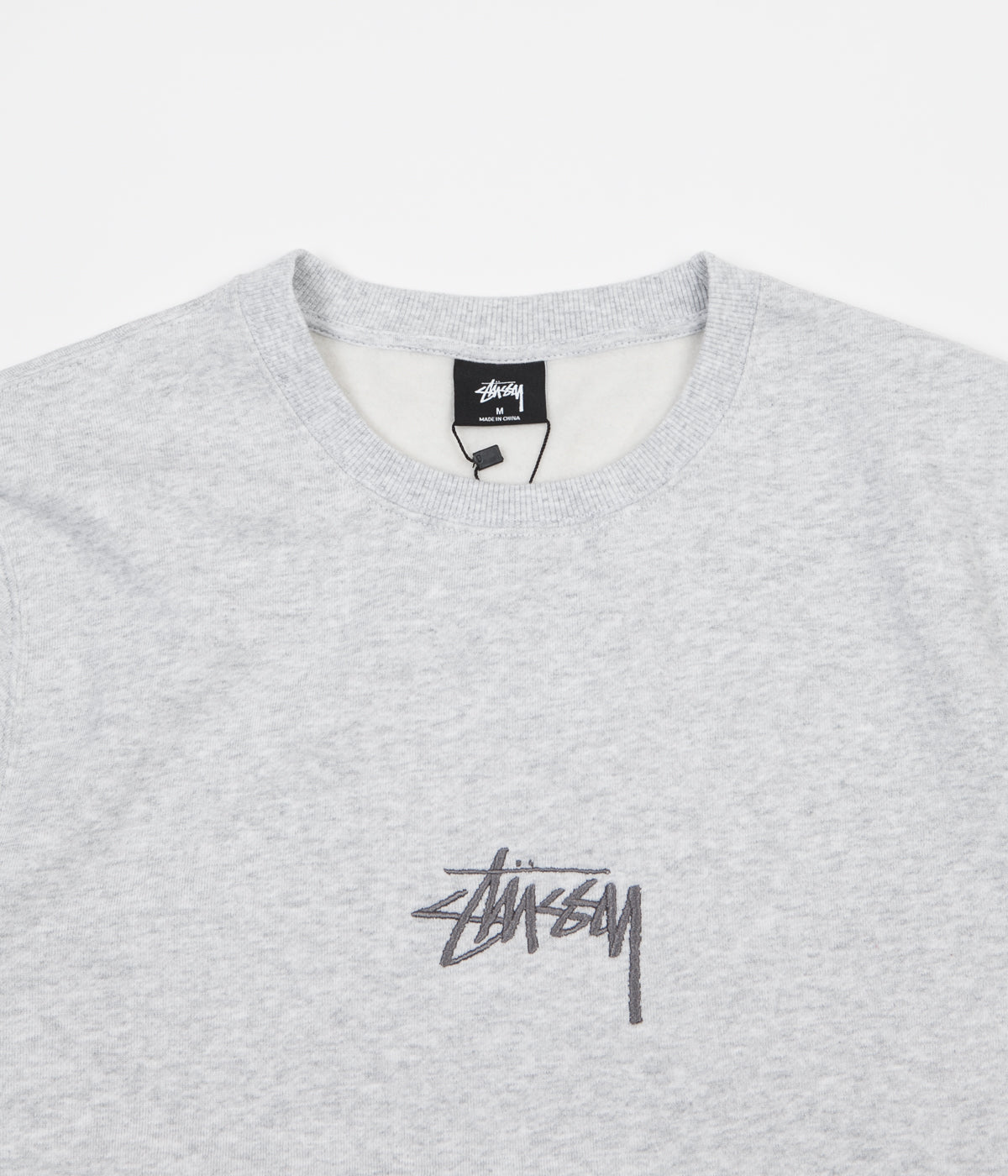 Stussy Stock Applique Crewneck Sweatshirt - Grey Heather