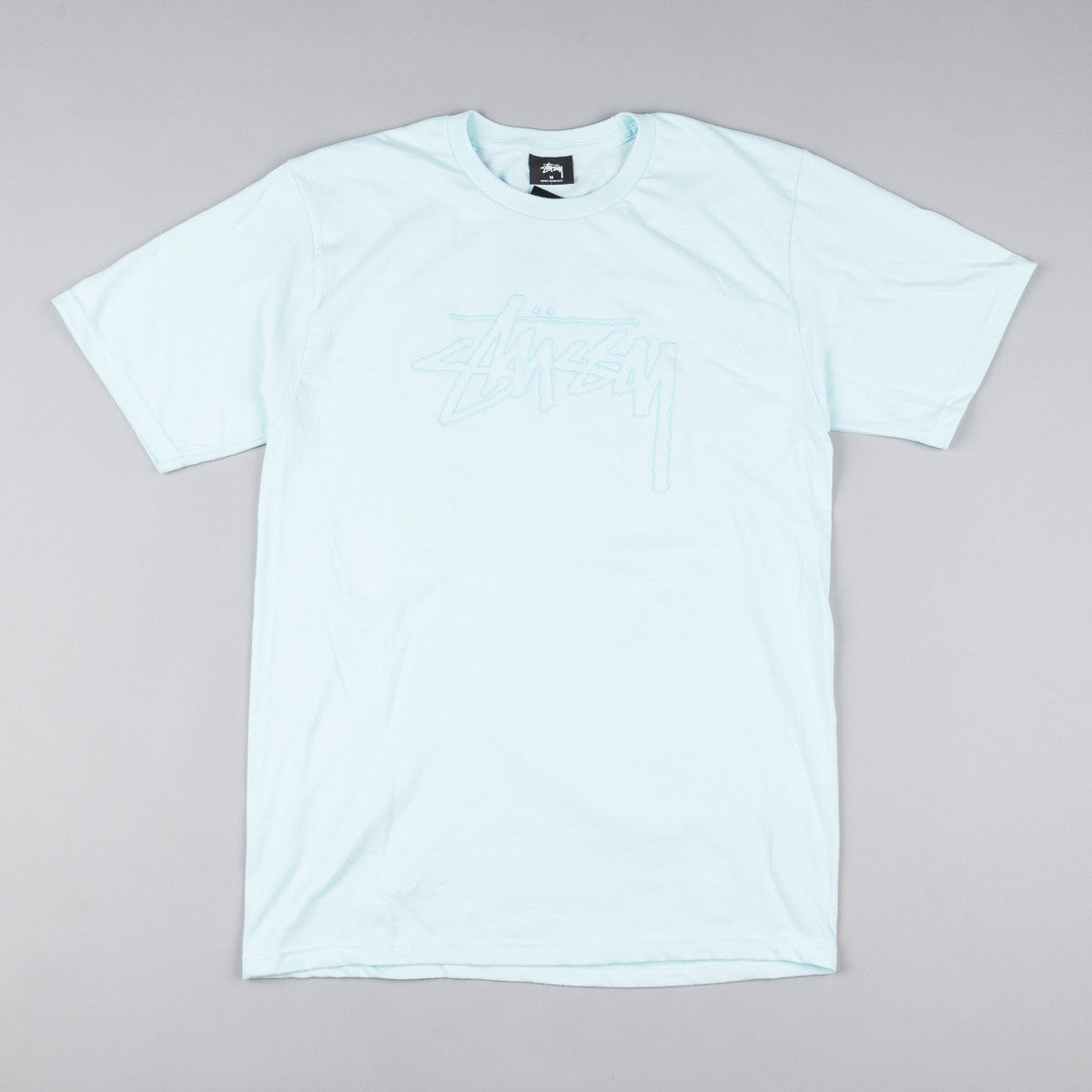 Stussy Stock Embroidered T-Shirt - Light Blue