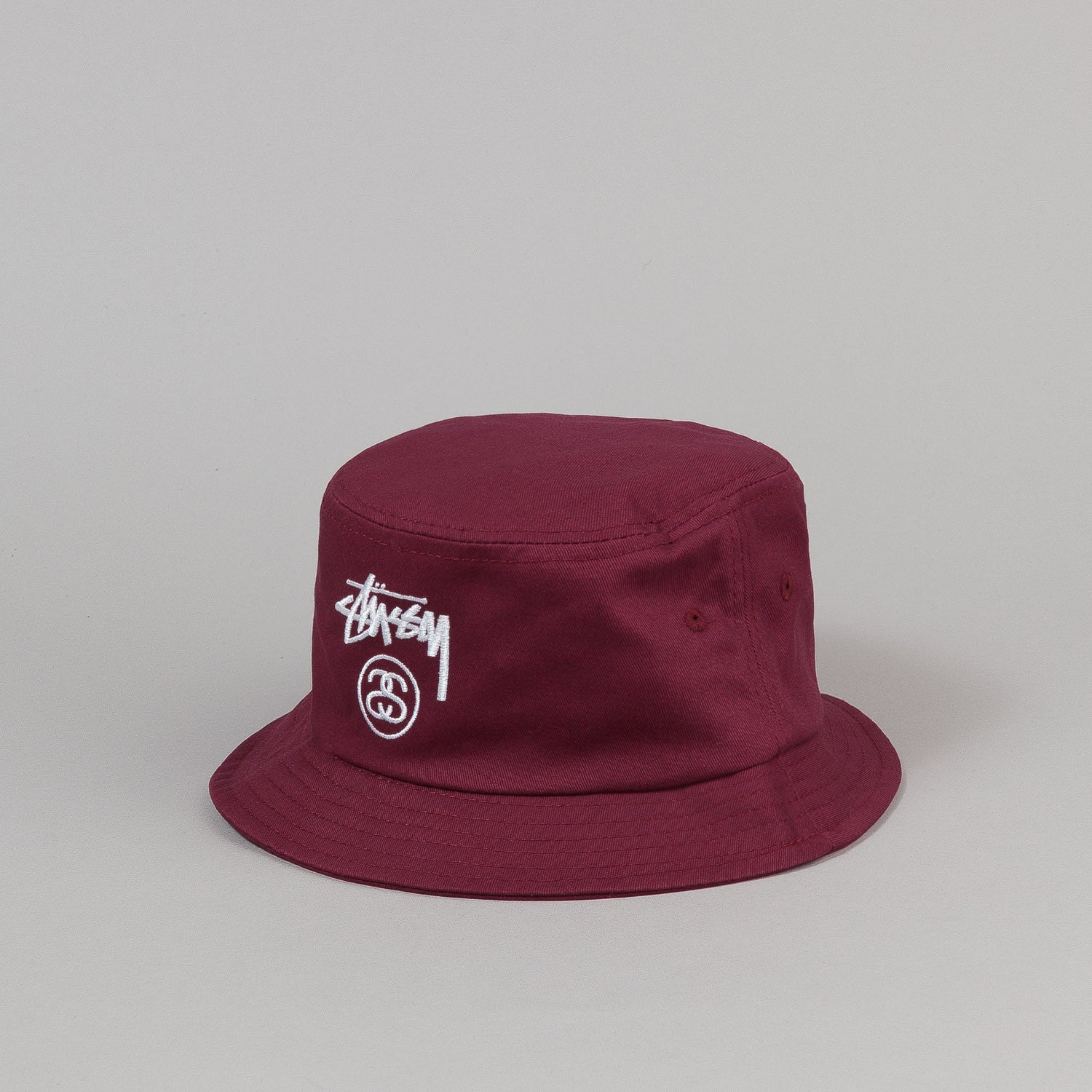 Stussy Stock Lock Bucket Hat Burgundy