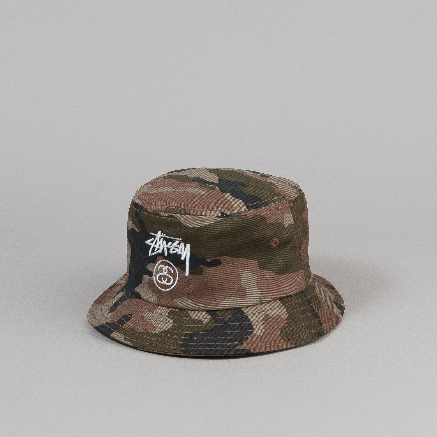 Stussy Stock Lock Bucket Hat Olive Camo