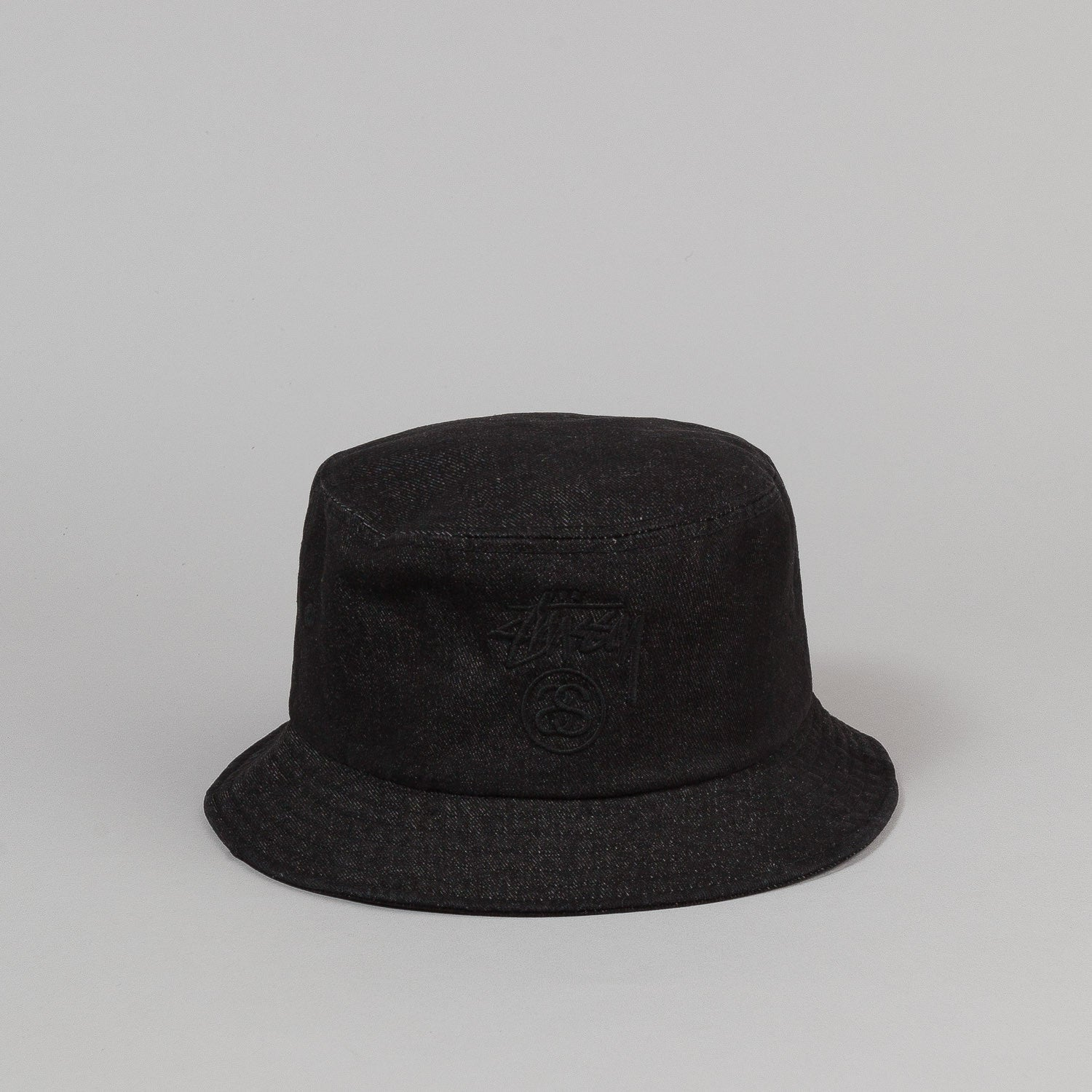 Stussy Stock Lock Denim Bucket Hat - Black