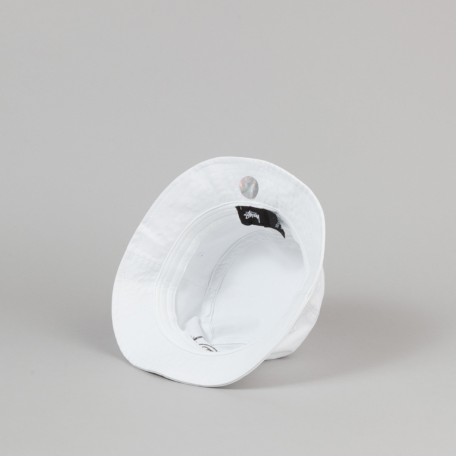 Stussy Stock Lock Denim Bucket Hat - White