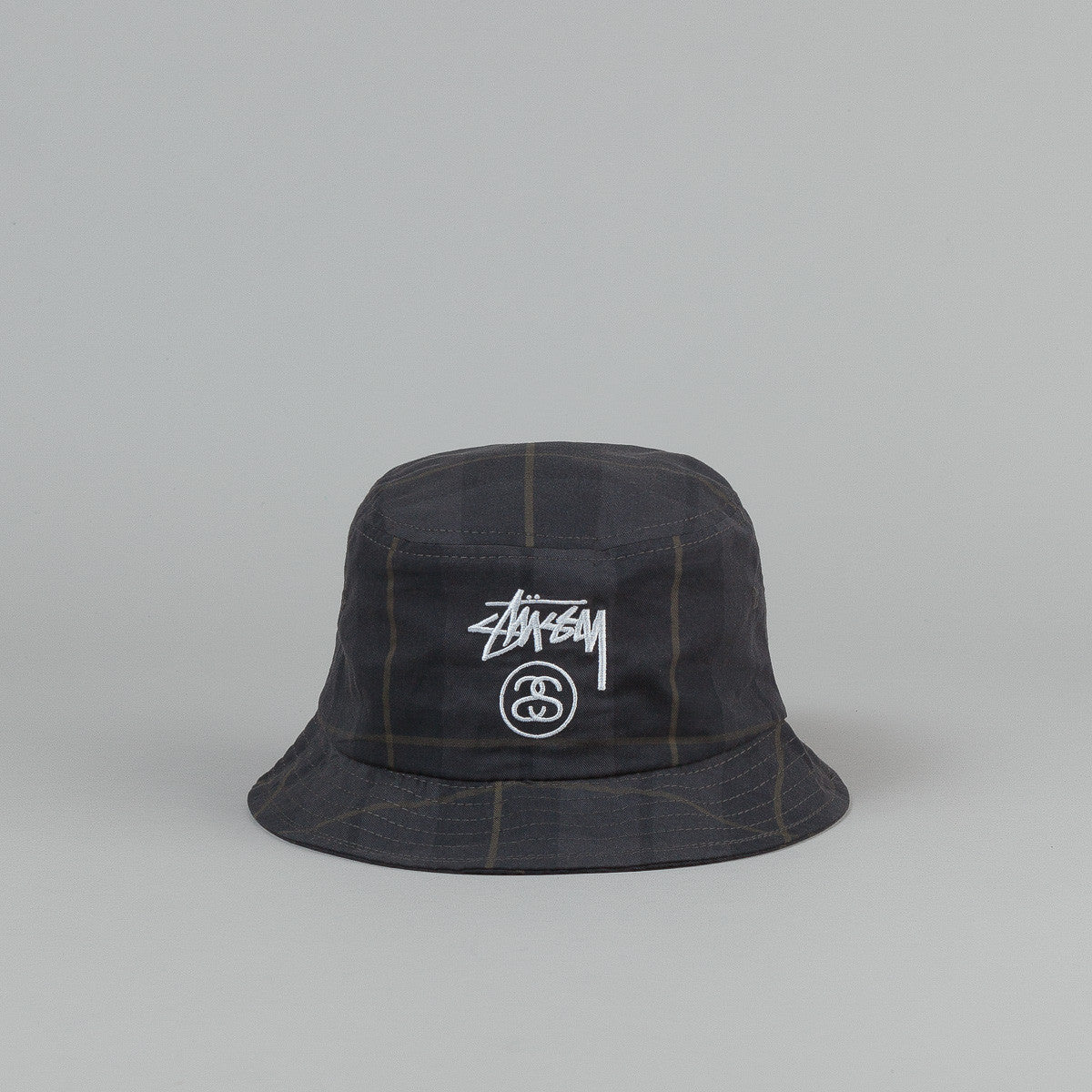 Stussy Stock Lock Plaid Bucket Hat - Black