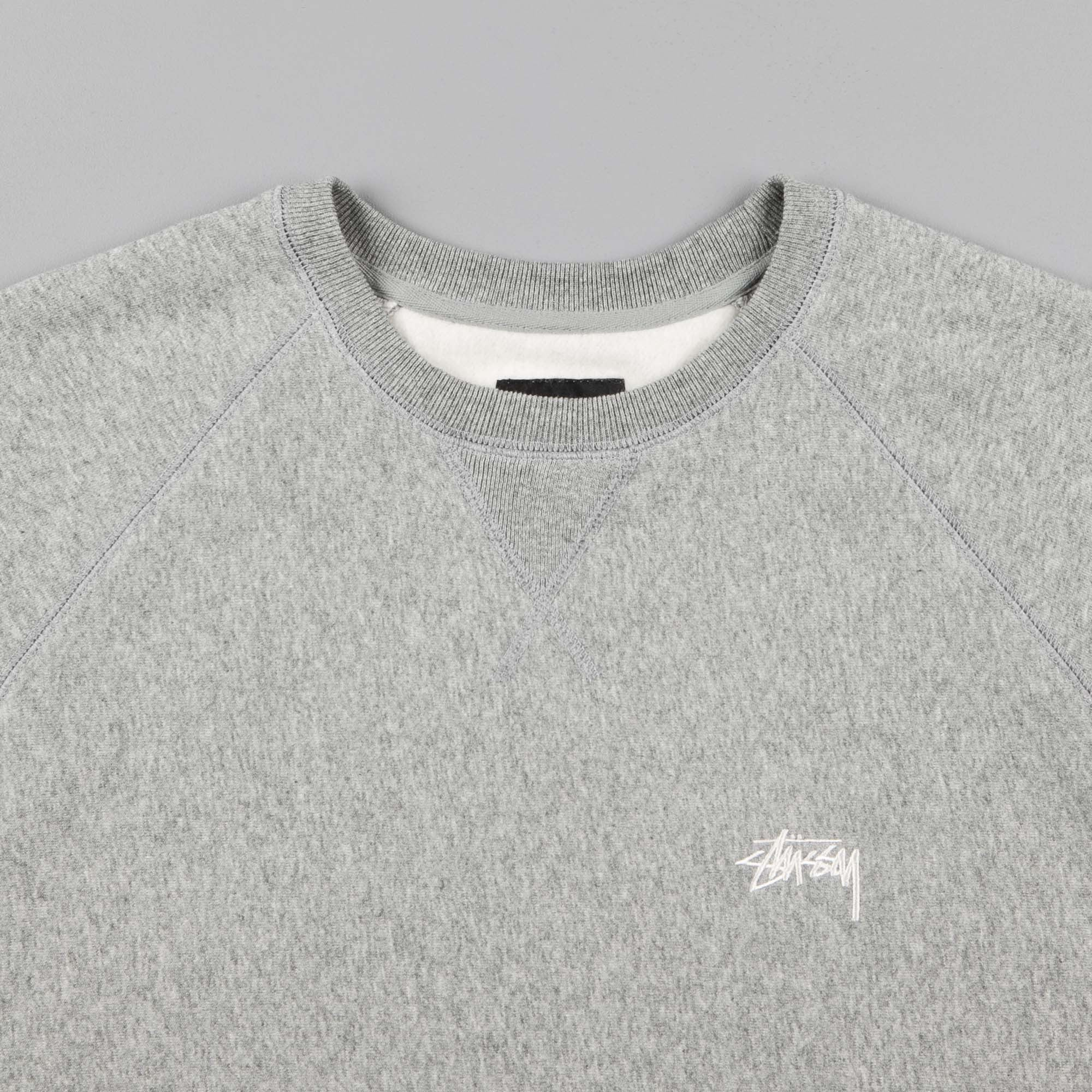 Stussy Stock Raglan  Crewneck Sweatshirt - Grey Heather