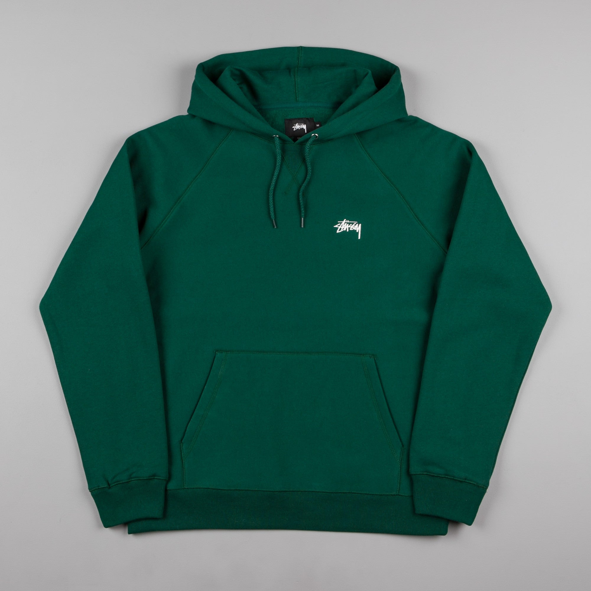 Stussy Stock Raglan Hooded Sweatshirt - Pine