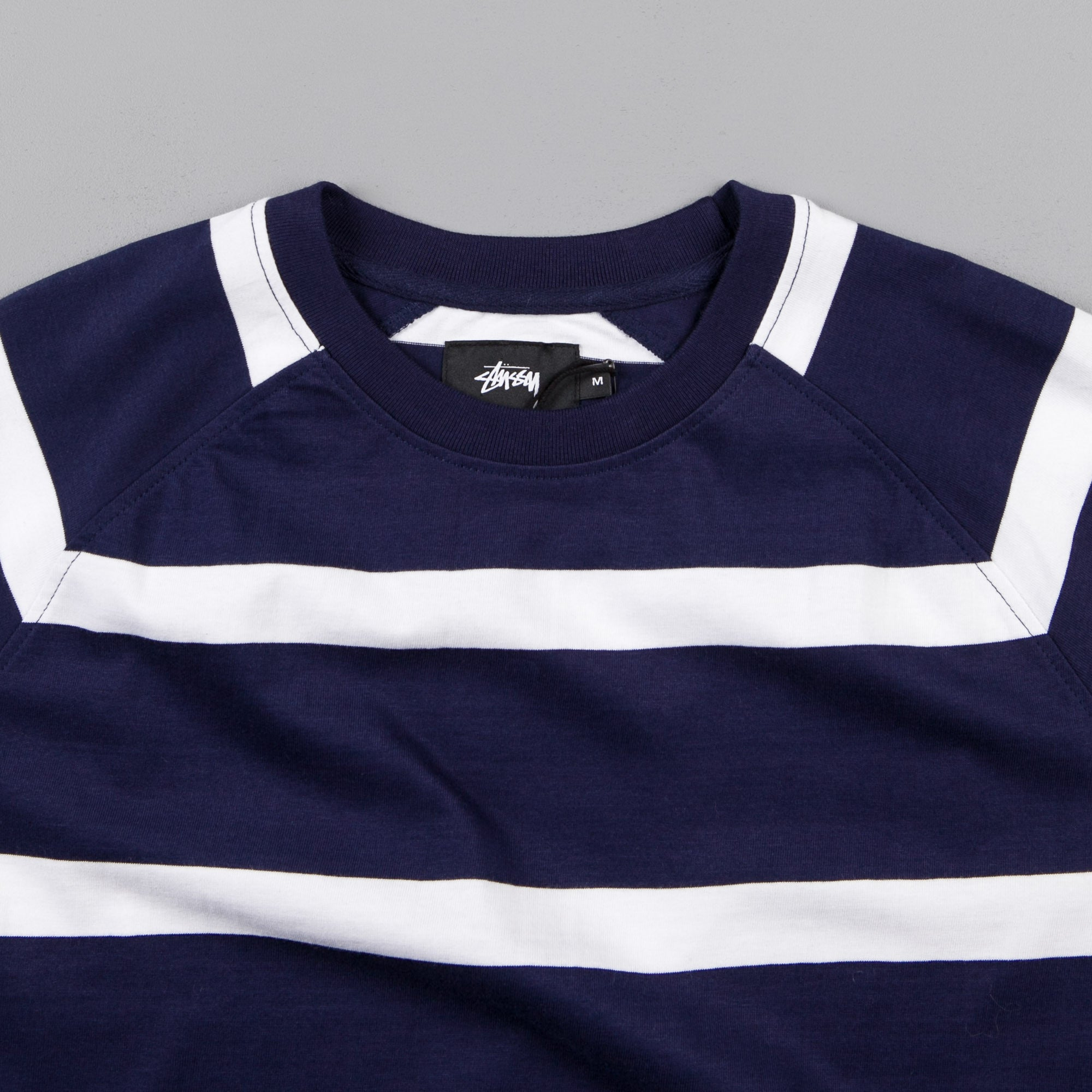 Stussy Striped Raglan Crewneck Sweatshirt - Navy