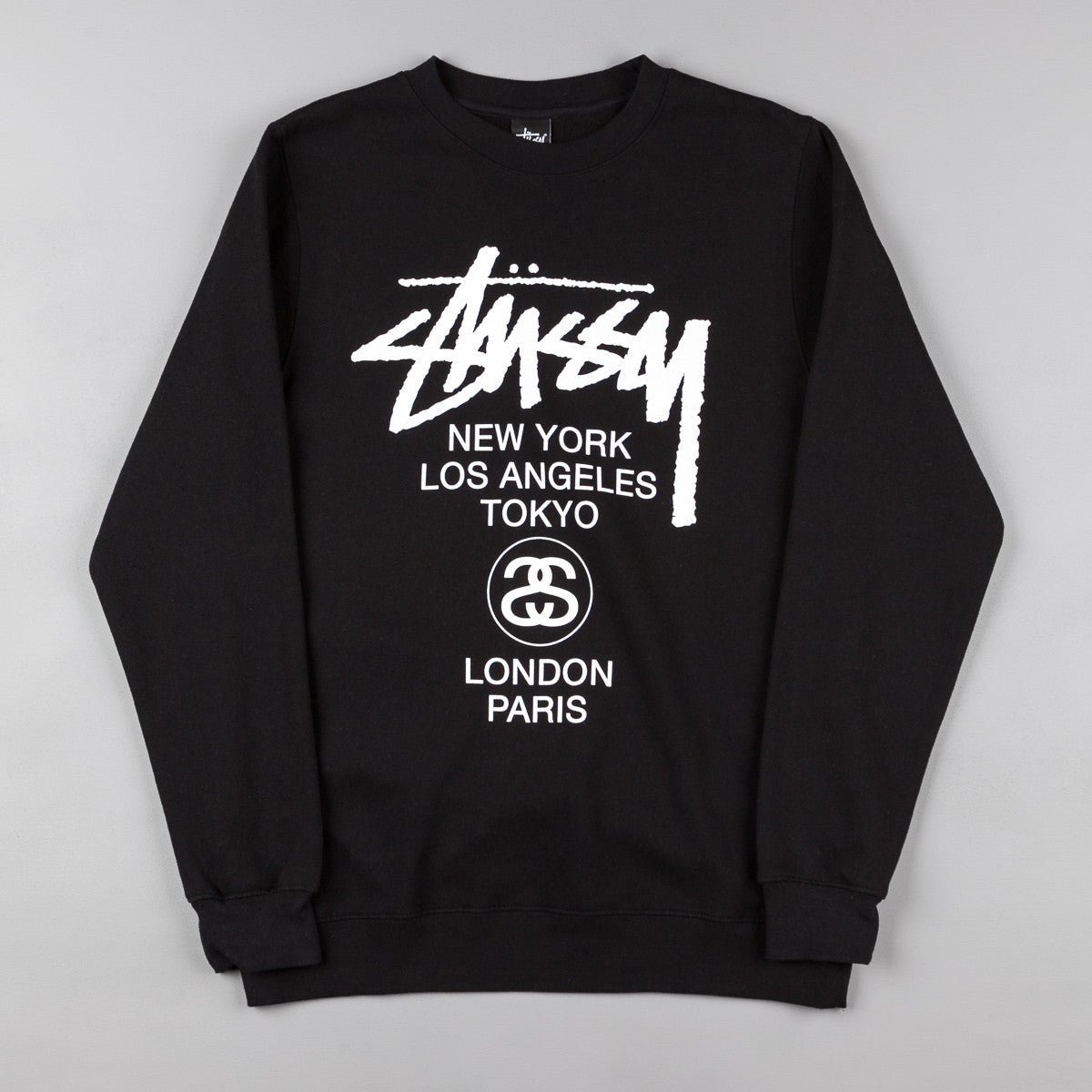 Stussy World Tour Crew Neck Sweatshirt - Black