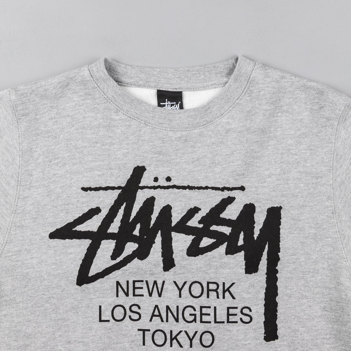Stussy World Tour Crew Sweatshirt - Grey Heather / Black