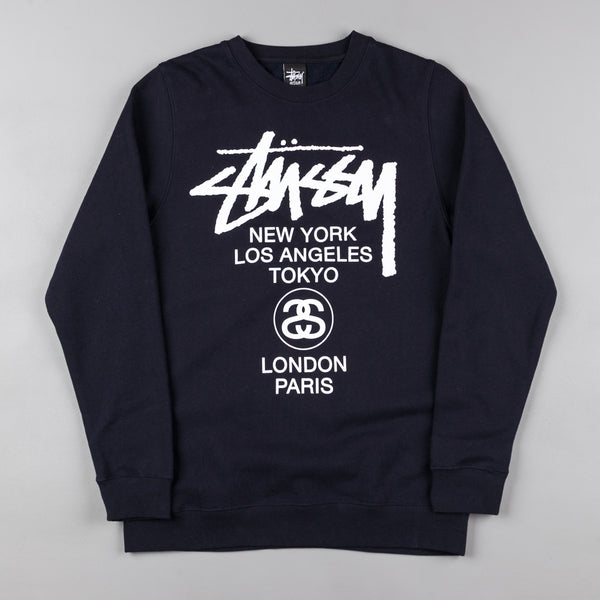 Stussy World Tour Crew Neck Sweatshirt - Navy