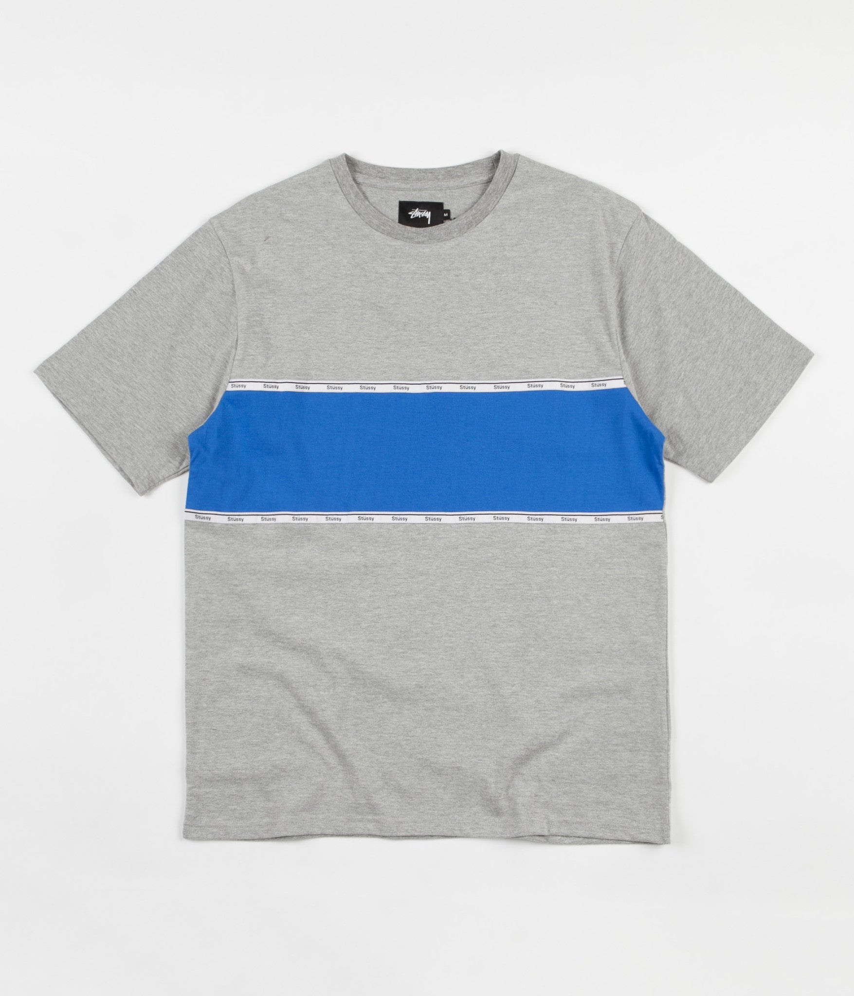Stussy Tape Stripe T-Shirt - Grey Heather