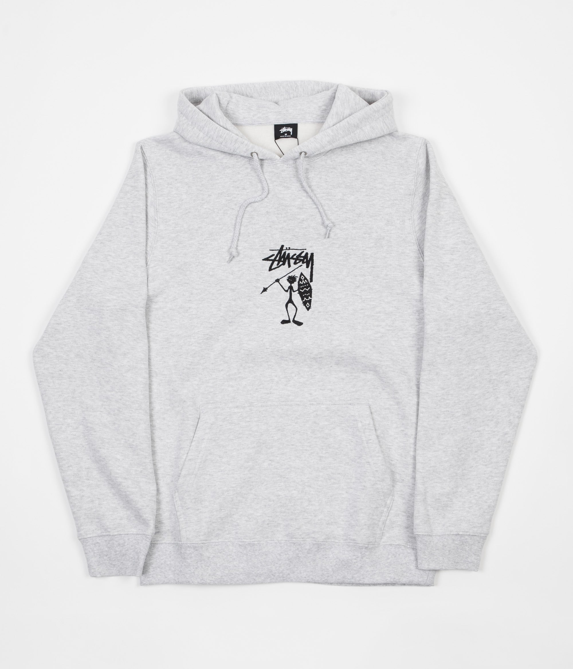 Stussy Tribe Man Applique Hoodie - Grey Heather
