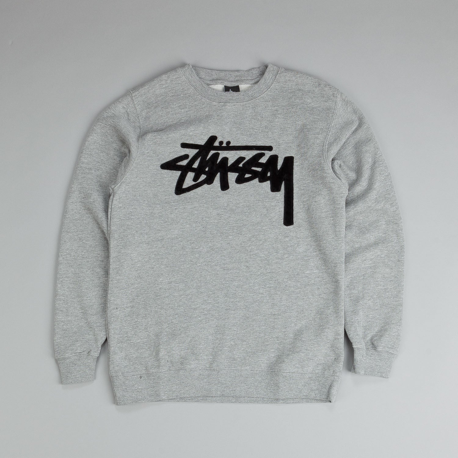 Stussy Velvet Stock Crew Sweatshirt Grey Heather