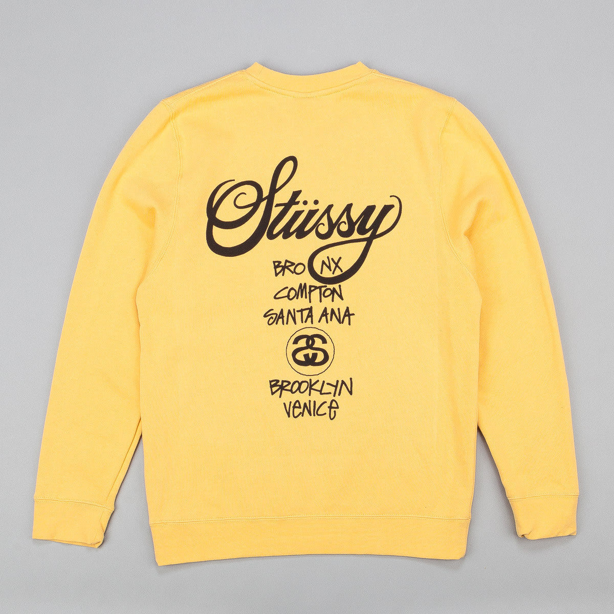 Stussy World Tour Crew Neck Sweatshirt - Faded Yellow