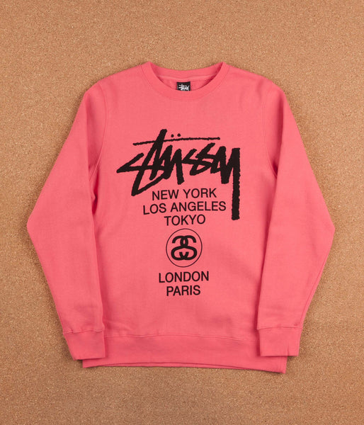 Stussy World Tour Crew Neck Sweatshirt - Pink