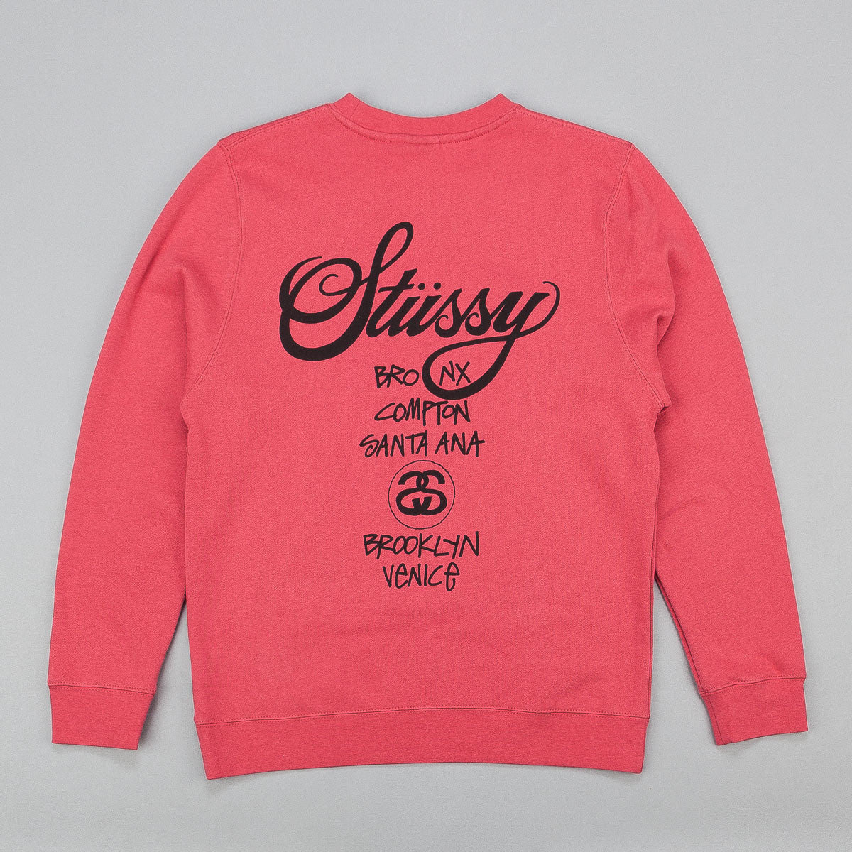 Stussy World Tour Crew Neck Sweatshirt - Salmon