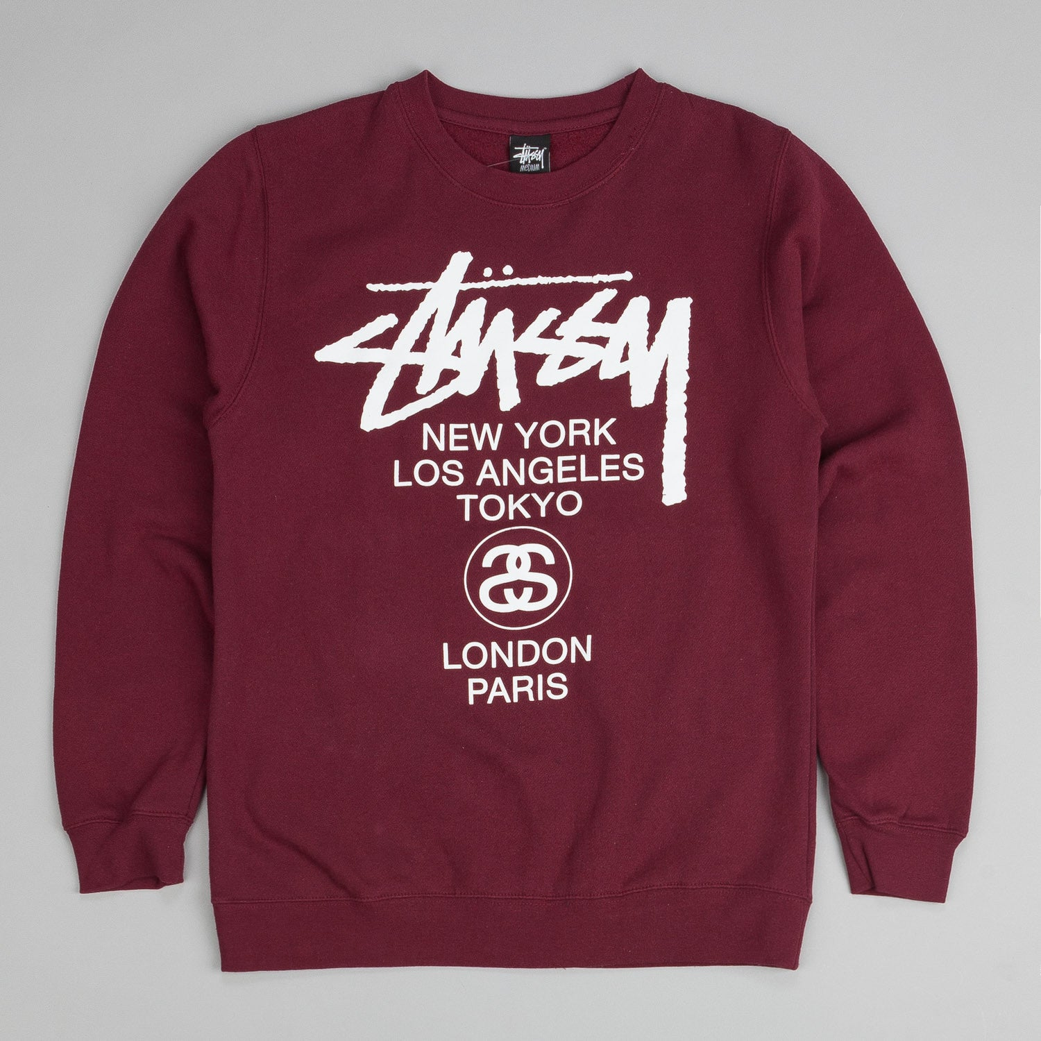 Stussy World Tour Crew Neck Sweatshirt Wine