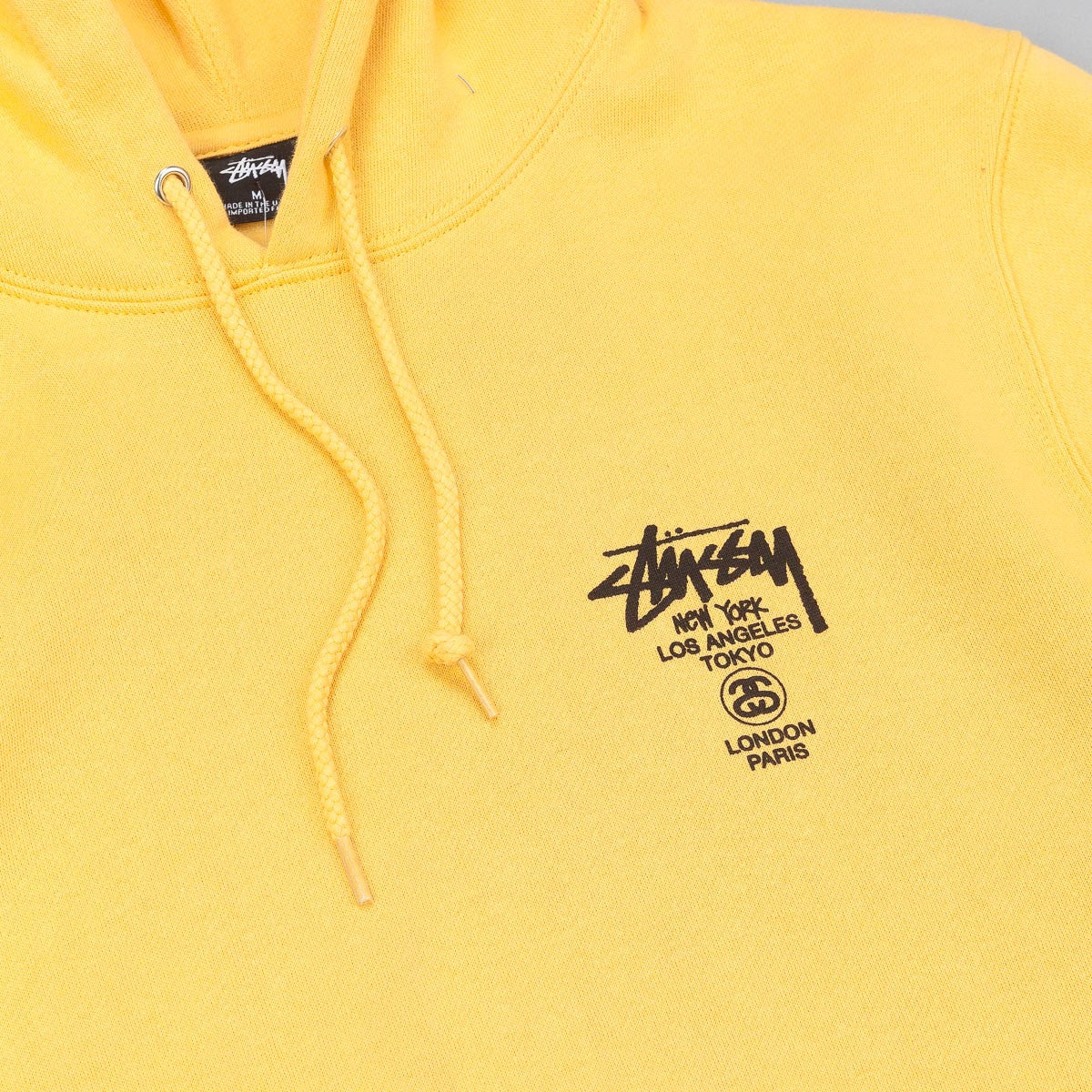 Stussy World Tour Hooded Sweatshirt - Faded Yellow