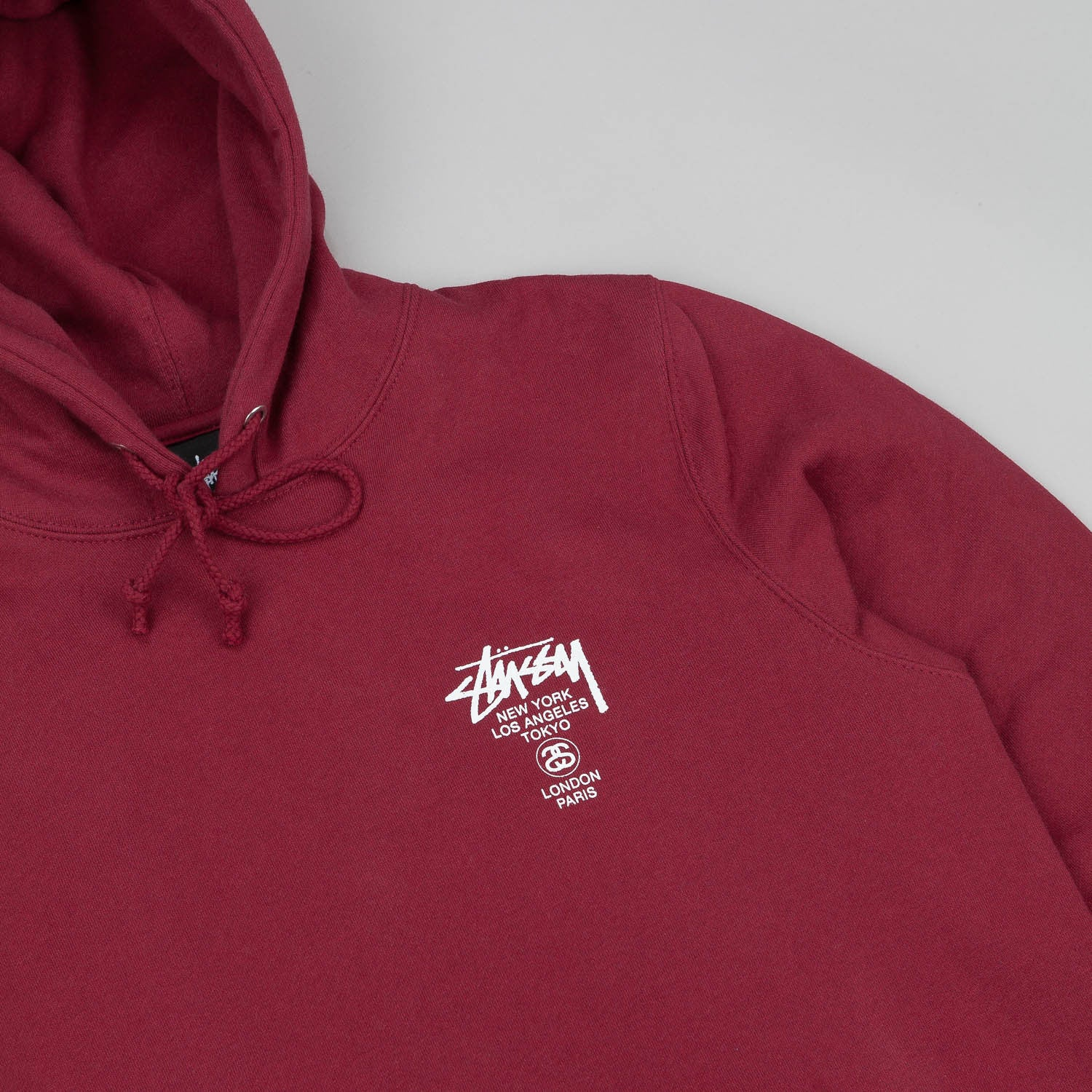 Stussy World Tour Hooded Sweatshirt Wine