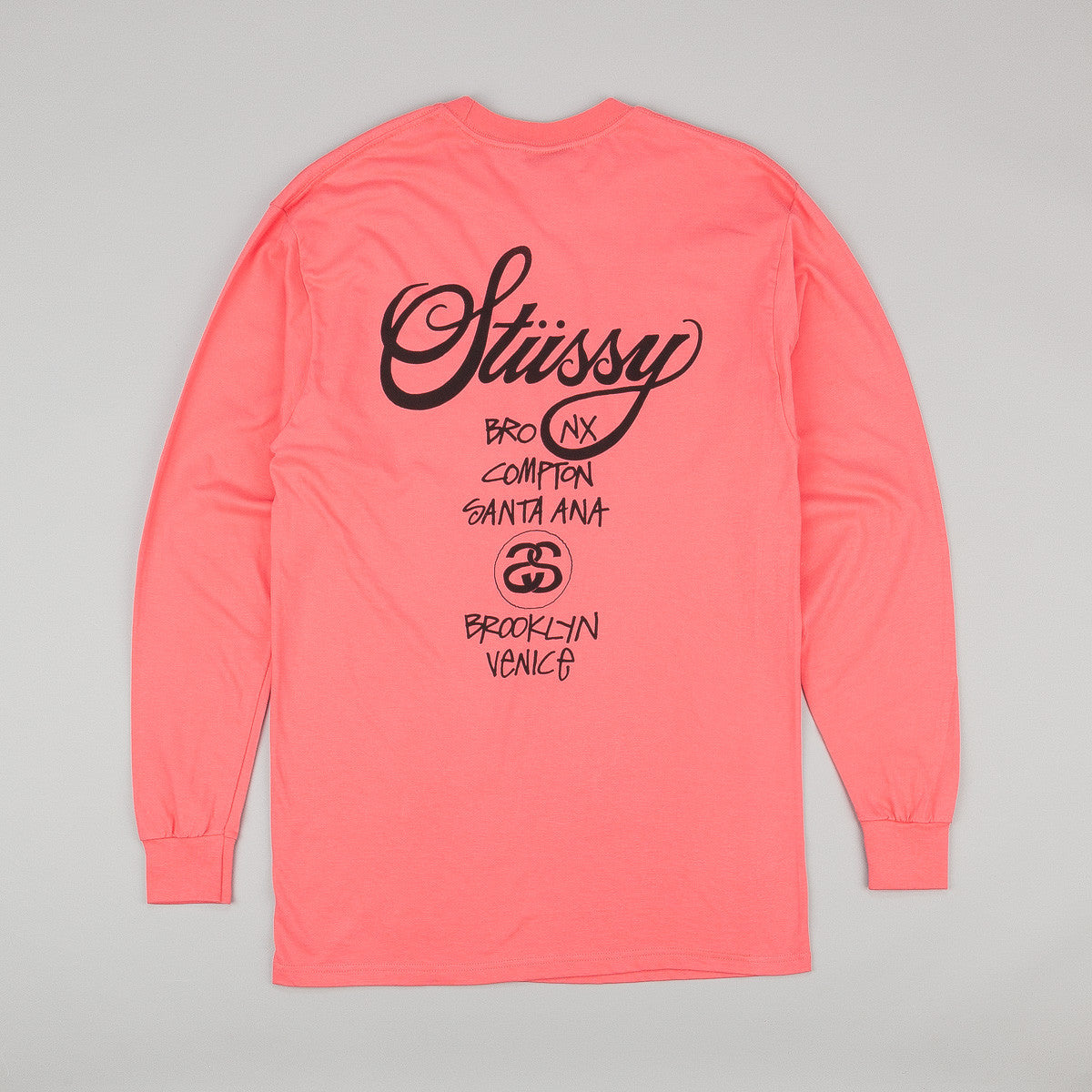 Stussy World Tour Long Sleeve T-Shirt - Pink