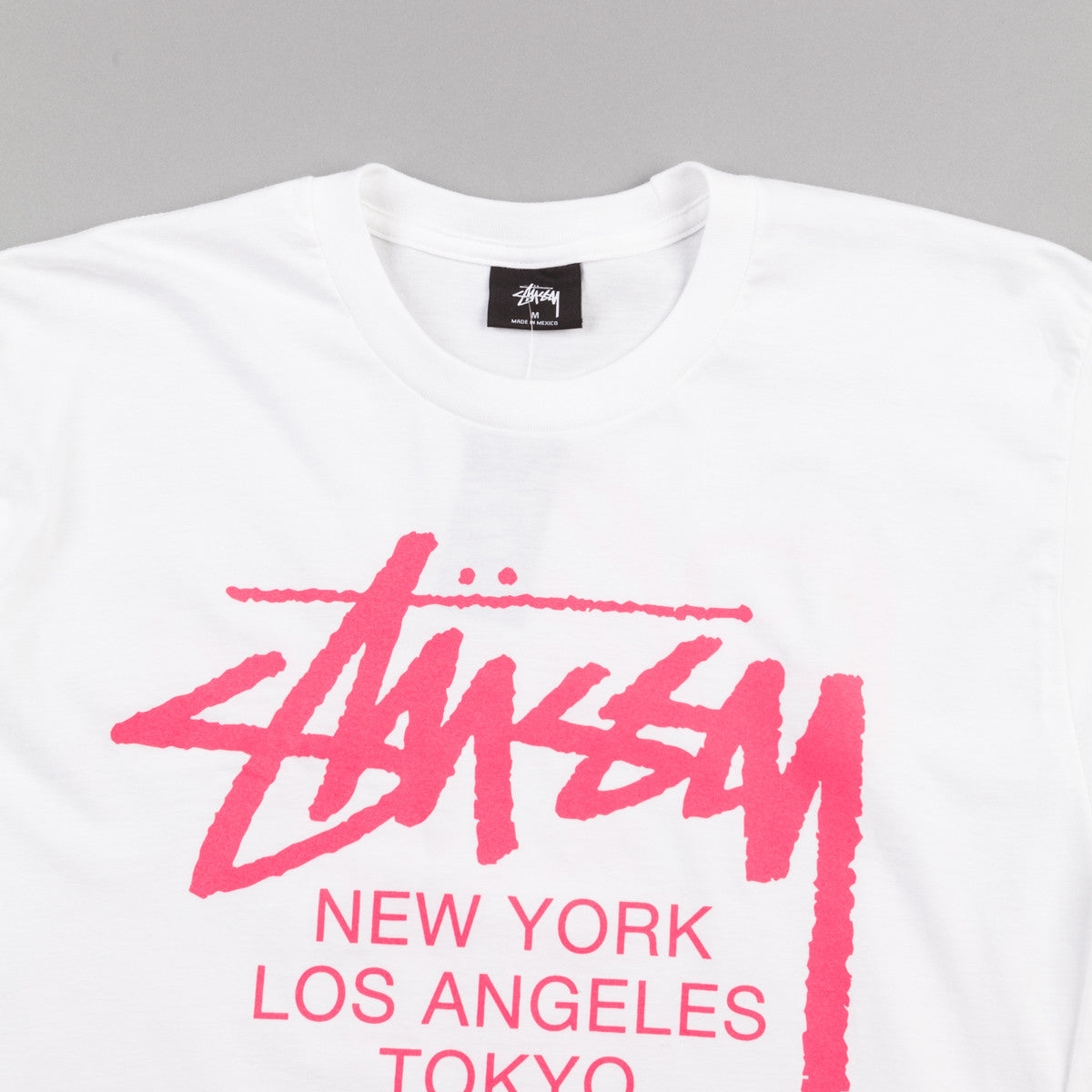 Stussy World Tour Long Sleeve T-Shirt - White / Pink