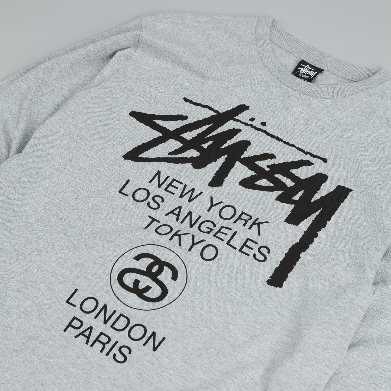 Stussy World Tour Long Sleeve T Shirt - Grey Heather