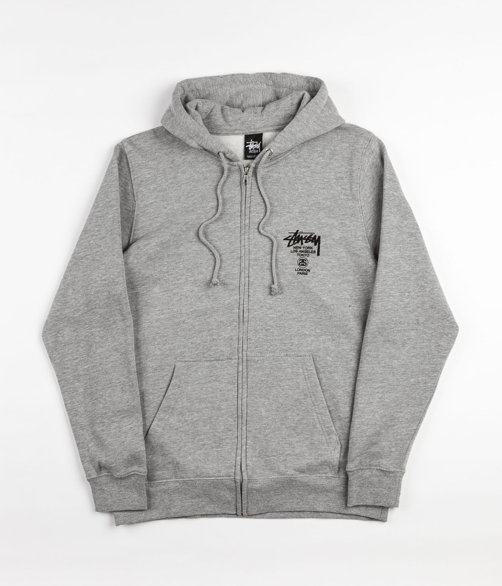 Stussy World Tour Zip Hooded Sweatshirt - Heather Grey