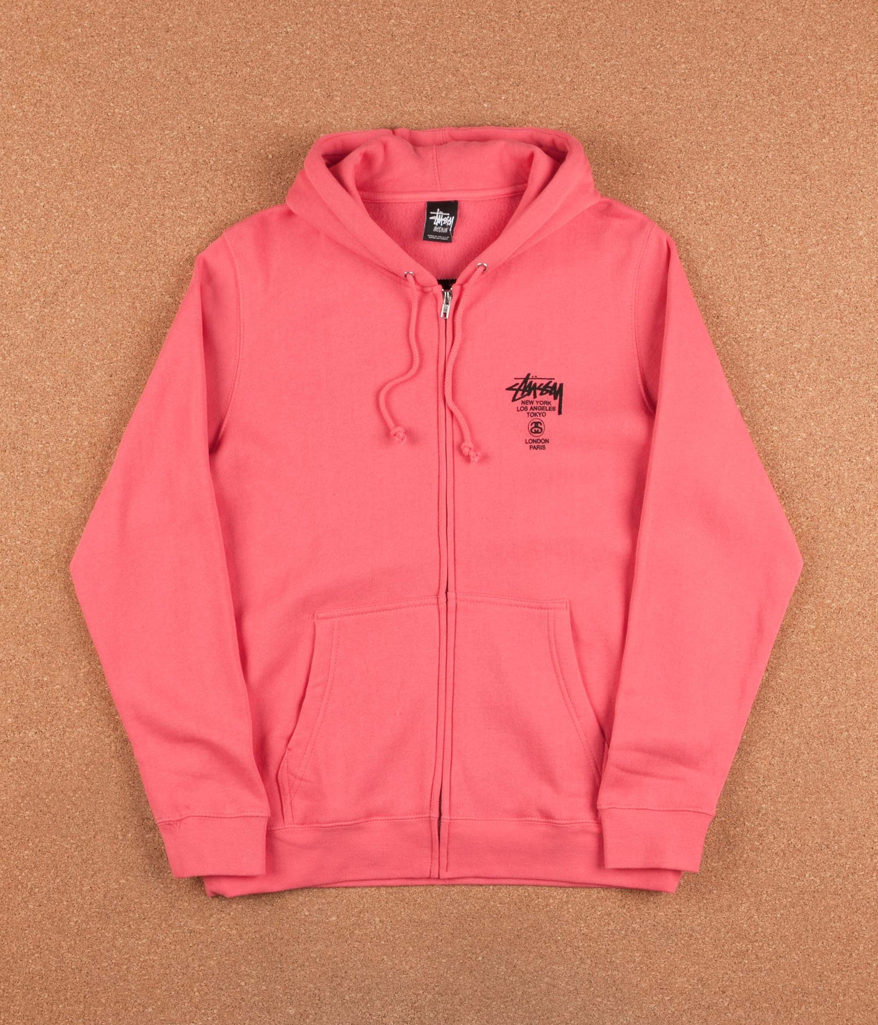 Stussy World Tour Zip Hooded Sweatshirt - Pink