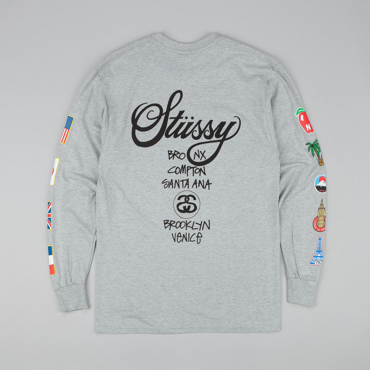 Stussy WT Flags Long Sleeve T-Shirt - Grey Heather