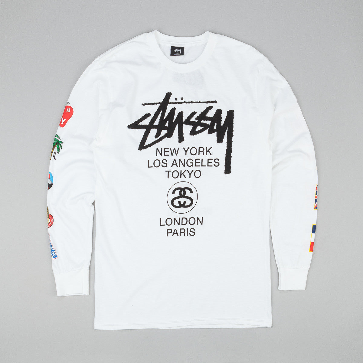 Stussy WT Flags Long Sleeve T-Shirt- White