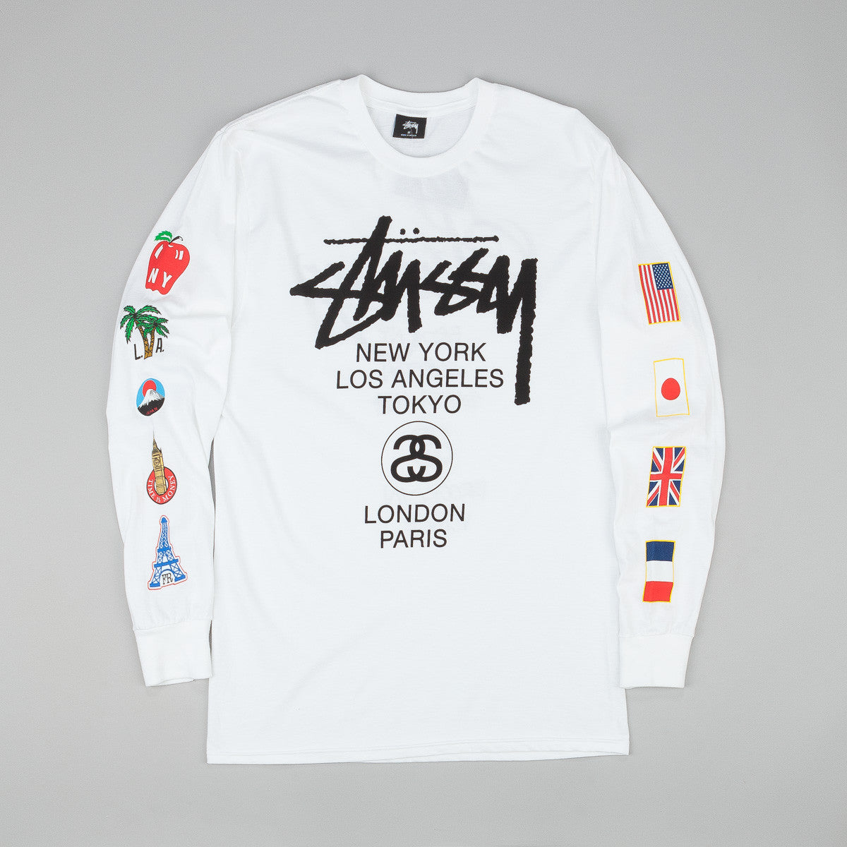 Stussy WT Flags Long Sleeve T-Shirt - White