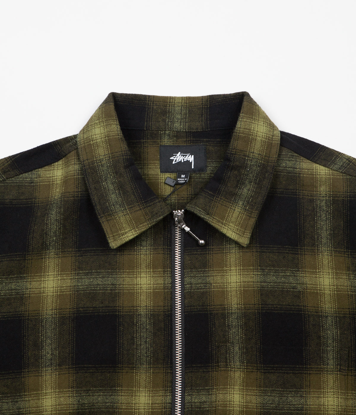 Stussy Zip Up Shadow Plaid Long Sleeve Shirt - Green
