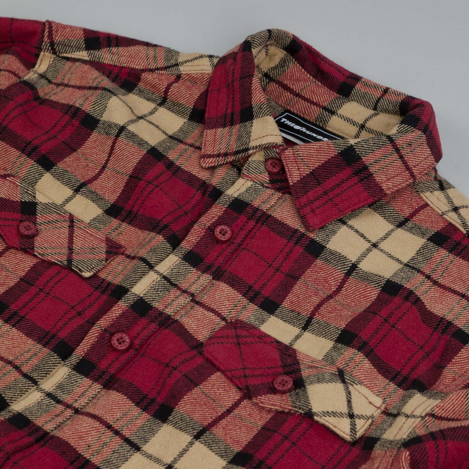 The Hundreds Conduct L/S Flannel Shirt Red
