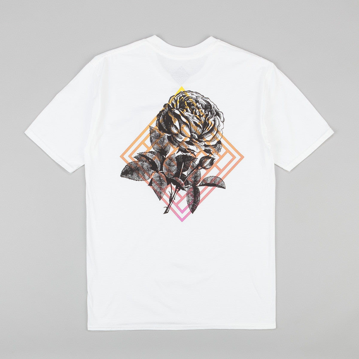 The National Skateboard Co Fade Rose T-Shirt - White