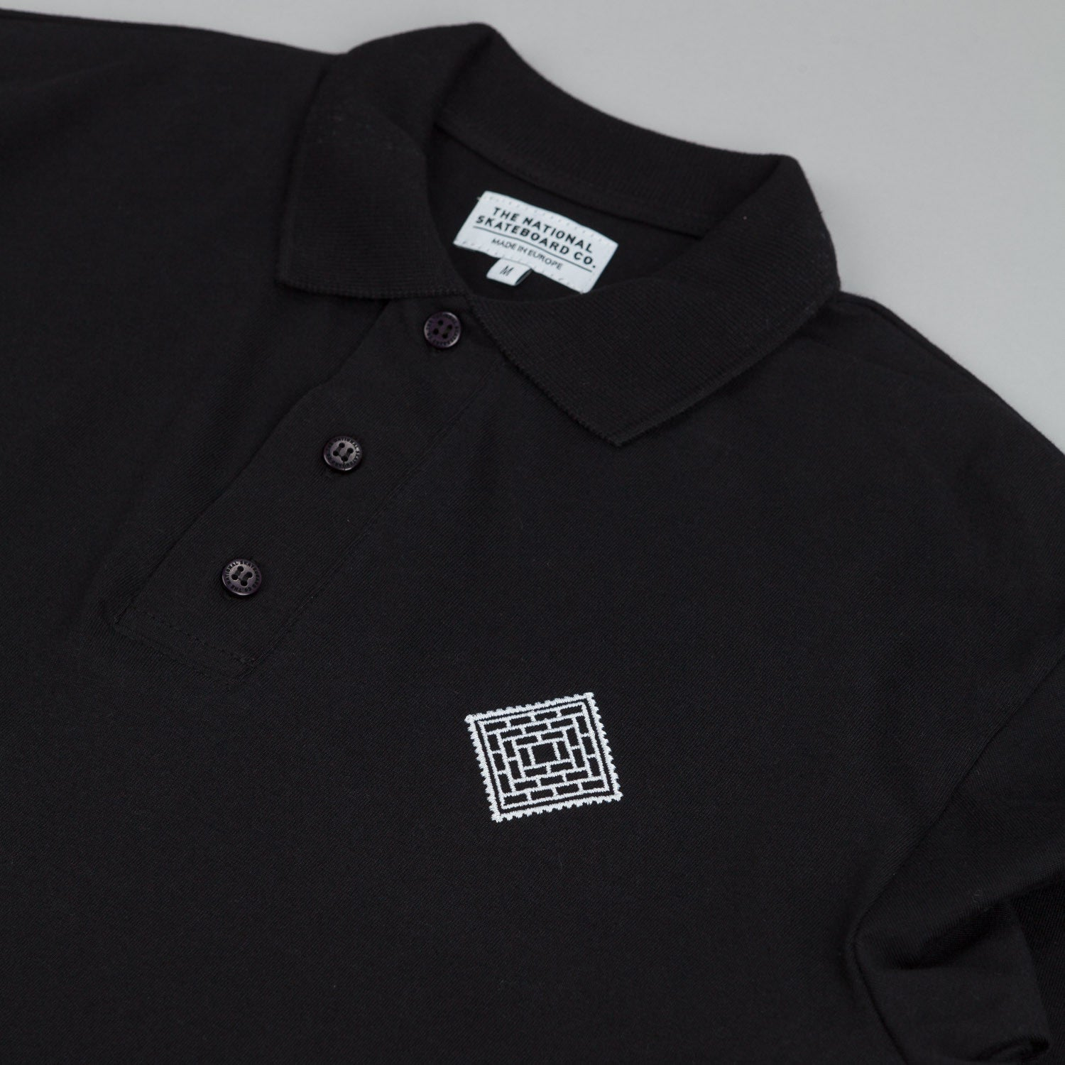 The National Skateboard Co X Post L/S Polo T-Shirt Black
