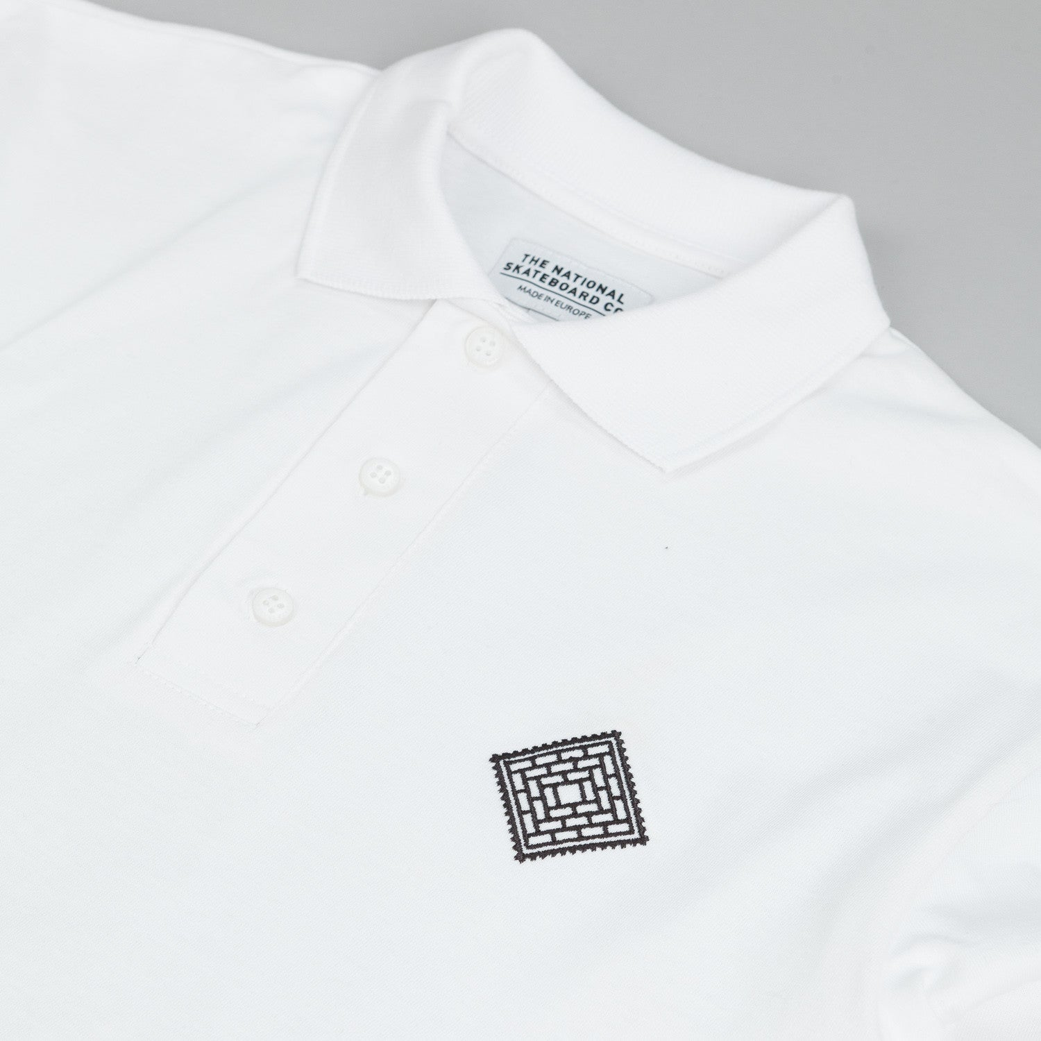 The National Skateboard Co X Post L/S Polo T-Shirt White