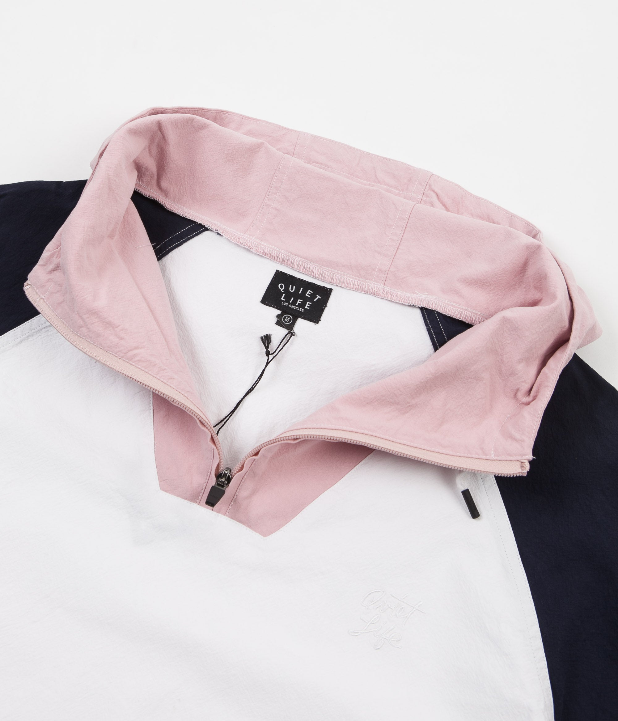 The Quiet Life Boardwalk Windy Pullover Jacket - White / Navy / Pink