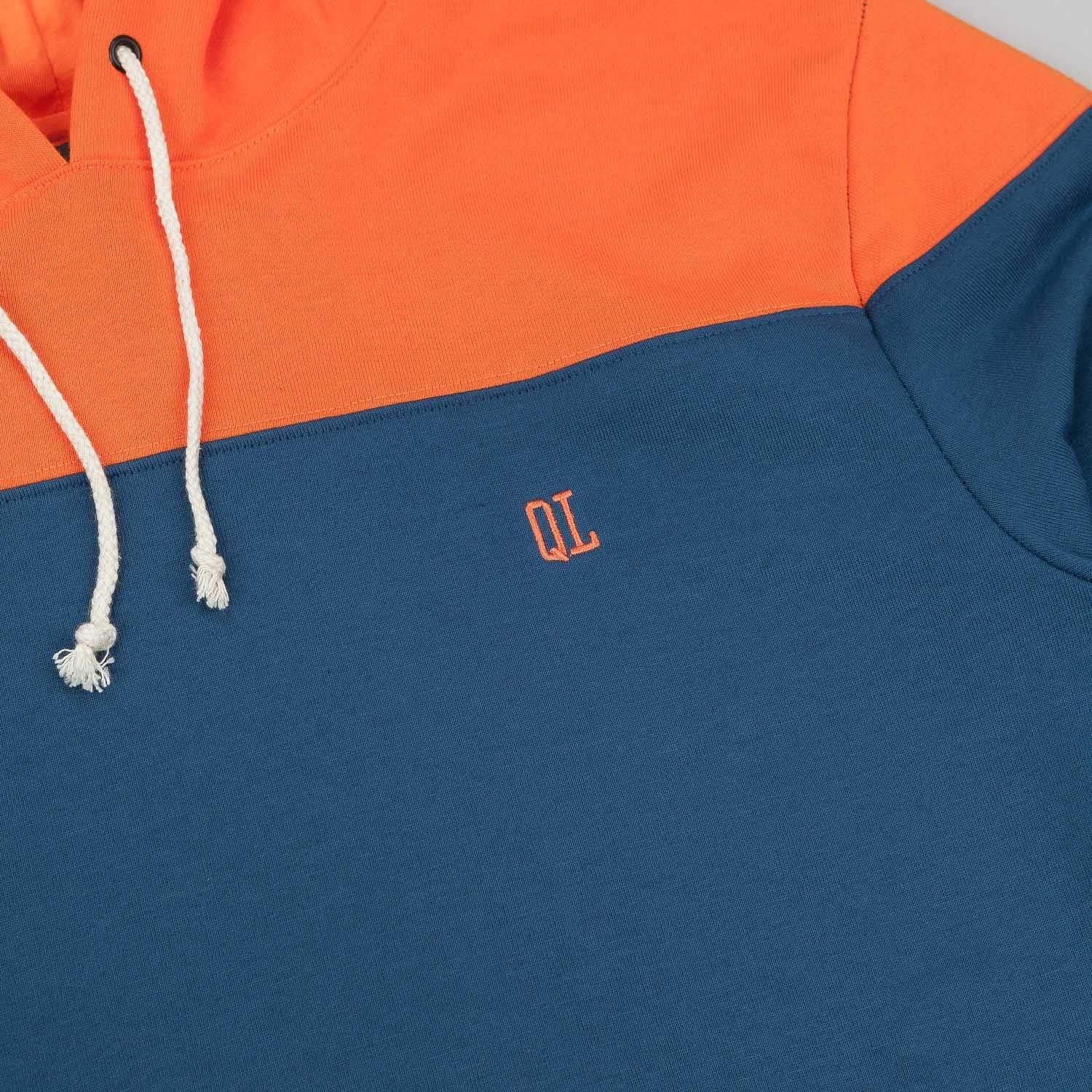 The Quiet Life Colour Block Hooded Sweatshirt - Navy / Orange