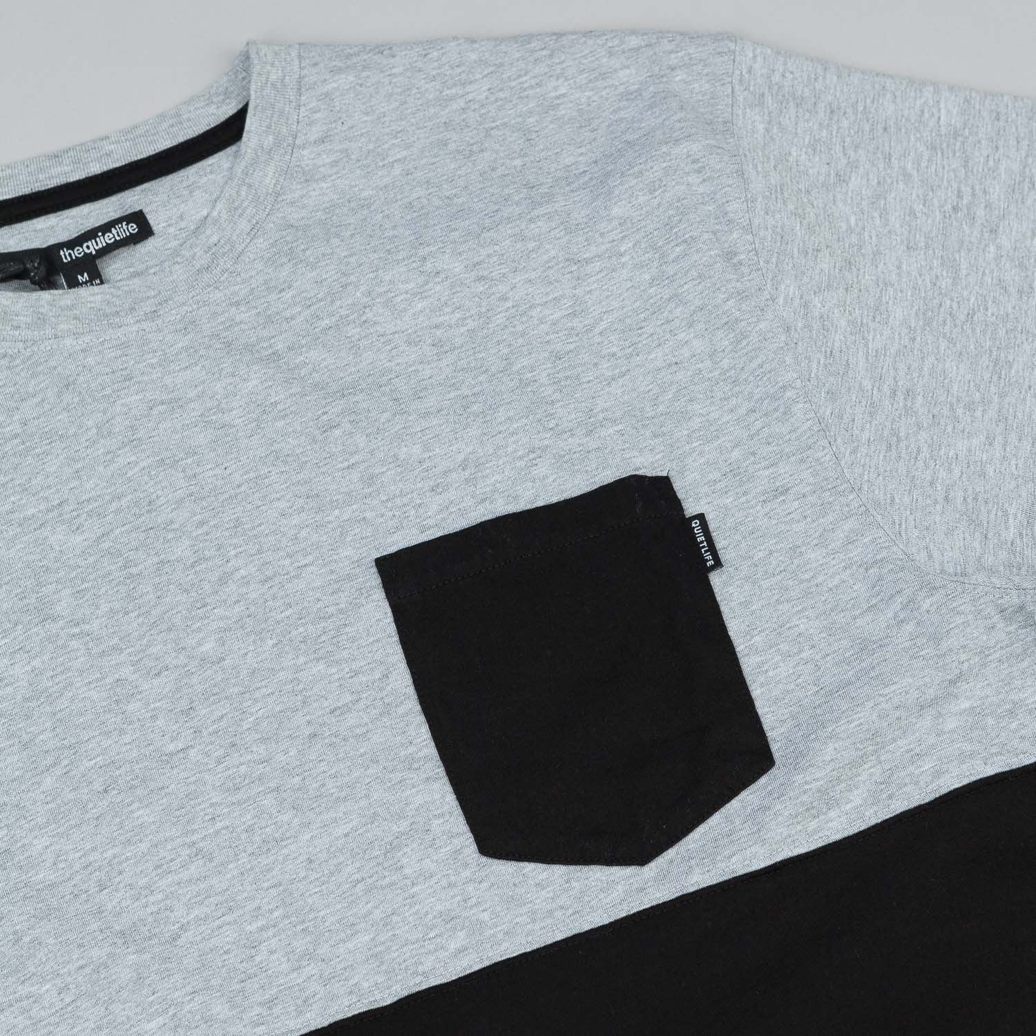 The Quiet Life Colour Blocked Pocket T-Shirt - Heather Grey / Black