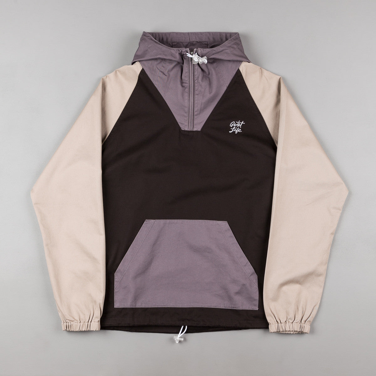 The Quiet Life Contrast Windy Pullover Jacket - Black / Grey