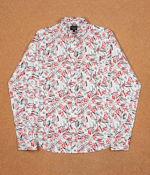 The Quiet Life Jarvis Long Sleeve Shirt - Red / White