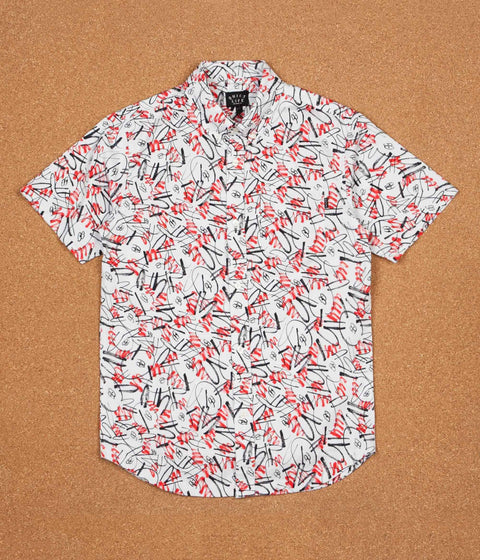 The Quiet Life Jarvis Short Sleeve Shirt - Red / White