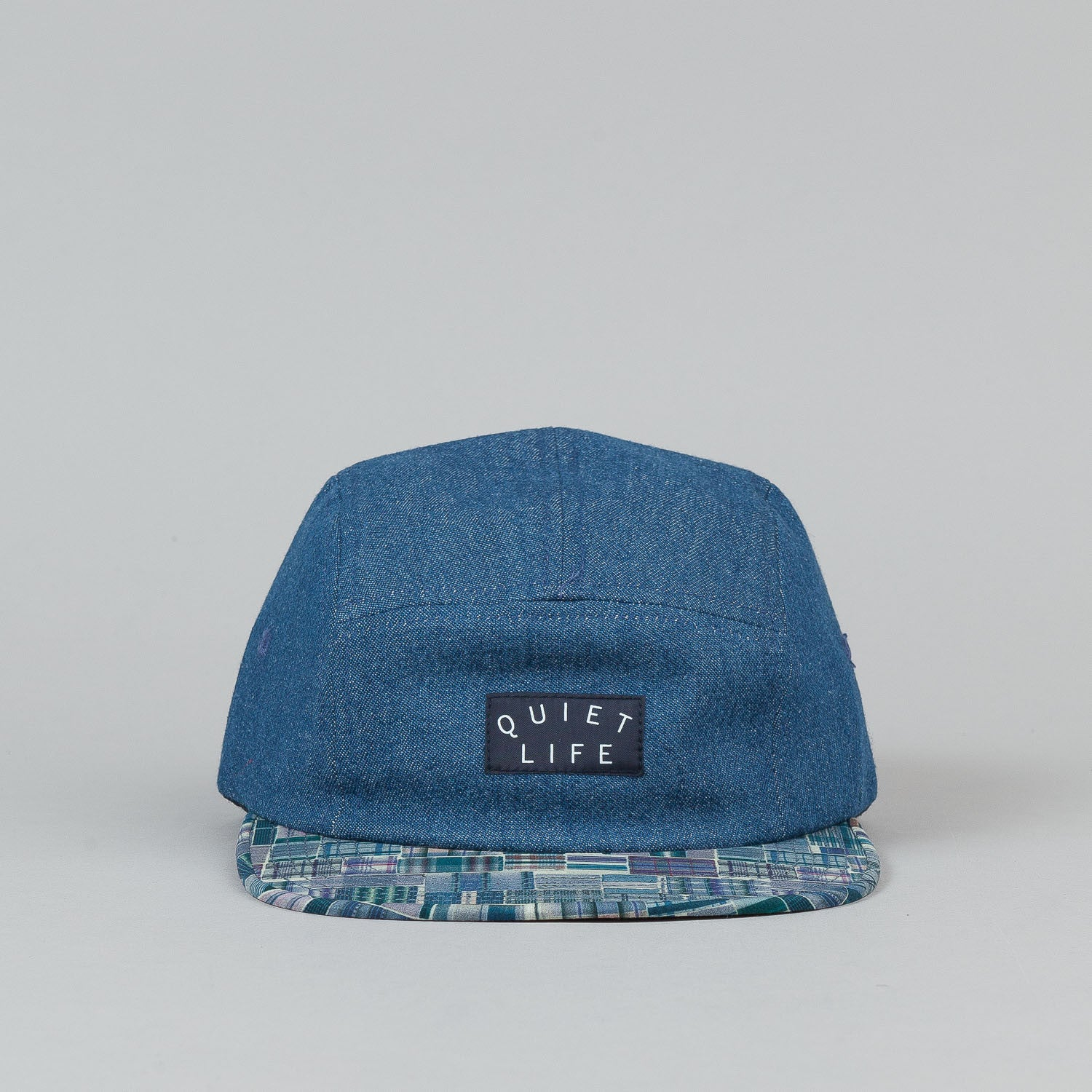 The Quiet Life Liberty Madras 5 Panel Cap - Dark Denim Upper