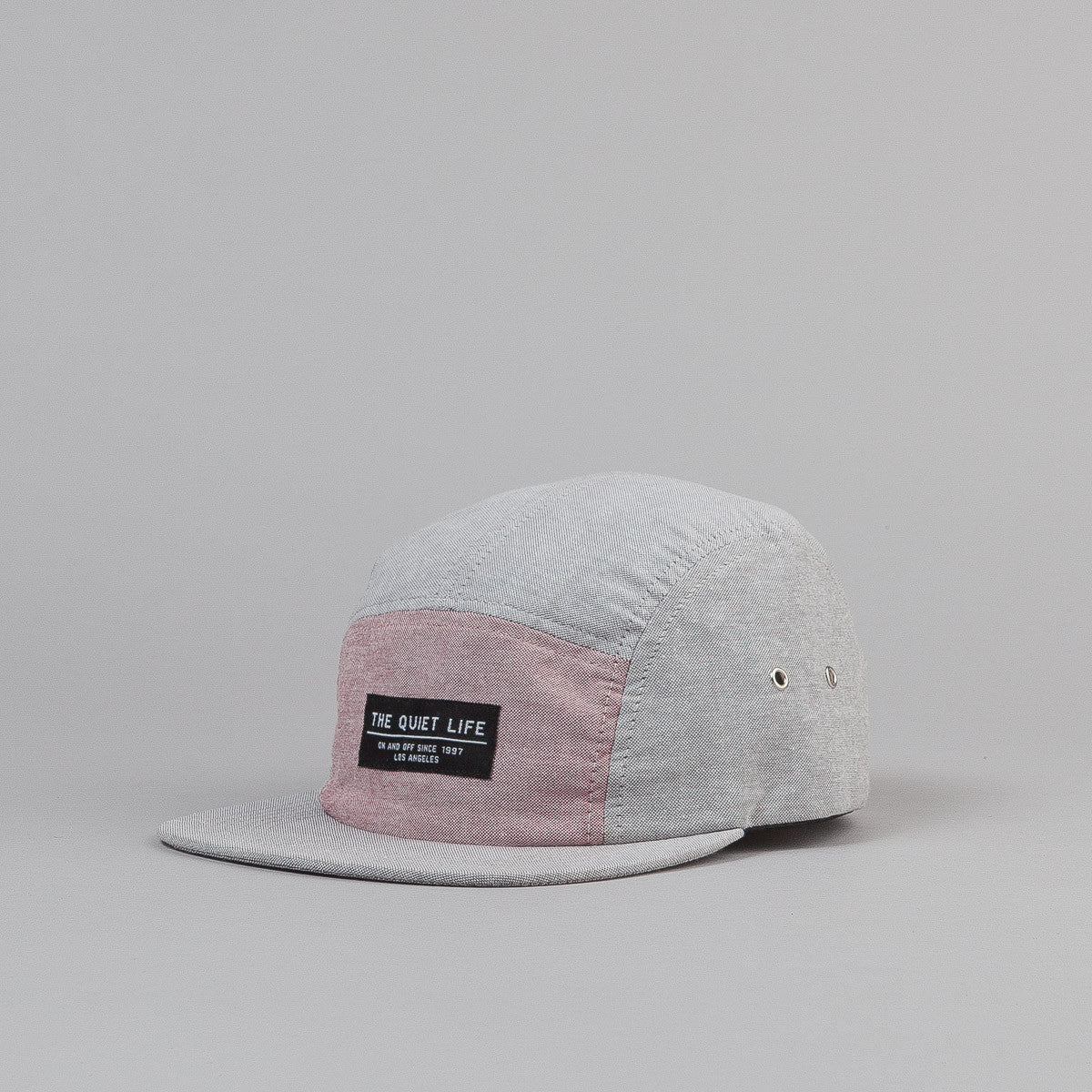 The Quiet Life Mixed Panel Oxford 5 Panel Cap - Grey / Pink